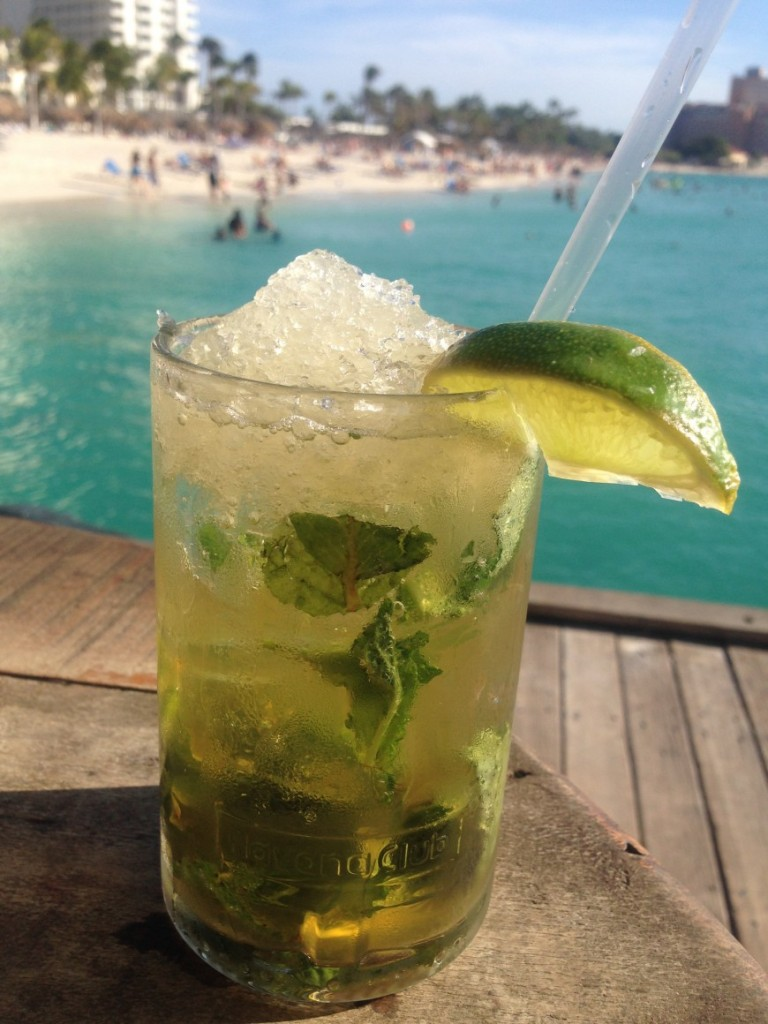 Mojito cocktail, Aruba, winter sun, holidays